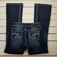 Silver Jeans Suki Womens 25x32 Dark Wash Low Rise Bootcut Thick Stitch J1418