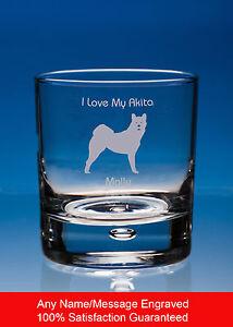 Akita Whisky Glass Dog Lover Gift Personalised Engraved Whiskey Tumbler Dog Gift