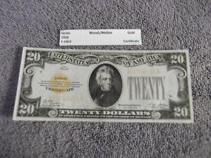 1928 $20 Gold Certificate - Higher Grade Note