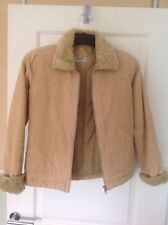 Cream JACKET Size 8 Fully Lined Fine Corded Faux Fur Collar And Cuffs Never Worn