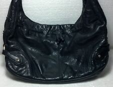 Black Sigrid Olsen 100% Leather/Polyester woman's handbag gold tone hardware.