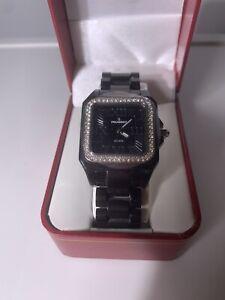 Black Peugeot Swiss Women Genuine Ceramic Watch with Swarovski Crystal Bezel