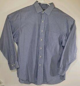 Ralph Lauren Mens Oxford Long Sleeve Button Up Front Blue Shirt Large Striped