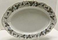 "Harmony House China 14"" Platter, Vintage Pattern, Dawn Gray, Horizon Blue Japan"