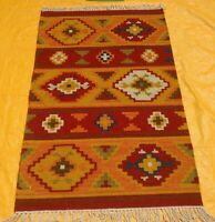 New Afghan Oriental Handwoven Ghazni Wool Kilim Carpet Area Rug 2 x 4 Ft