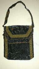 Amazing Teeny Tiny Seed Bead Vintage Egyptian Revival Purse Navy & Gold