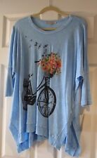 "Jess & Jane New with tags Sky Blue ""Bike Ride"" soft tunic top tee oversized L"