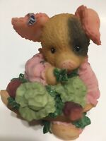 This Little Piggy Figurine Sow Lucky Gardening Piggy Country Vintage 1997