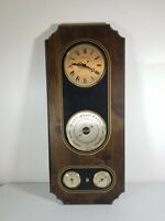 """AT&T Hampton Barometer LARGE Made In France 28"""" X 12"""" Clock Weather Station"""