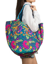 Blue Elephant Bohemian Shoulder Bag Tote Roomy Spacious One of a Kind Everyday