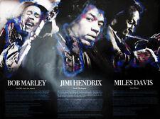 Bob Marley Jimi Hendrix Miles Davis Poster w/ Biography Music Art Photo (18x24)