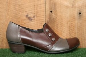 """FIDJI Brown & Gray Leather Button Loafers w/1.5"""" Heels EUR 38 
