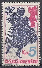 Tschechoslowakei gestempelt Kind Tracht Folklore Brauchtum Kultur Trompete  / 35