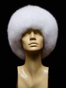 Saga Furs Genuine Pure White Arctic Fox Fur Classic Handmade Cossack Womens Hat