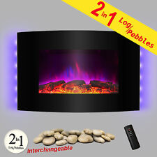 "36"" Tempered Glass Electric Fireplace Heat Wall Mount Adjustable Heater 2-in-1"