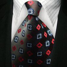 New Classic Solid WOVEN JACQUARD Silk Men's Suits Tie Necktie BLK Red M190