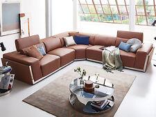 Ecksofa Ledersofa braun Elma Sofa Eck Couch Wohnlandschaft Teilleder Modern