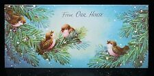 Vintage UNUSED Christmas Card GIBSON GLITTER BIRDS w/ PINK BELLIES on BRANCHES