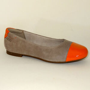 ECCO Shoes/Ballerina Leather slip on Beige/Orange shoes Size EU 33
