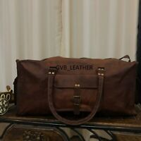 Men's Flexible Leather Travel Luggage Duffel Shoulder Gym Vintage Weekender Bag