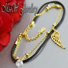 925 Silver Gold Plated Chain Bracelet with Black Cord - WING and Zirconia