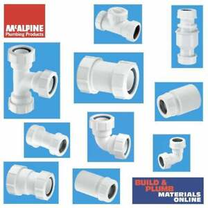 """McAlpine Compression Waste Fittings Overflow 11/4"""" (32mm) and 11/2"""" (40mm)"""