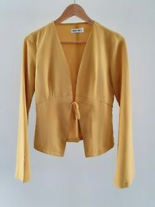 Tiger Mist Womens Size S Casual Mustard Yellow Bell Sleeve Tie Front Jacket EUC