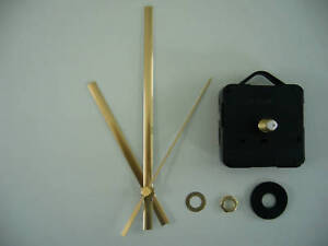 QUARTZ CLOCK MECHANISM LONG SPINDLE. 130mm GOLD HANDS