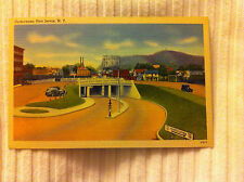 Unused Linen OLD CARS & BUILDINGS BY THE UNDERPASS Port Jervis New York NY