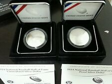 2014 Baseball Hall of Fame 2 Silver Dollar Coins Set (Silver Proof & Unc.)!!!!