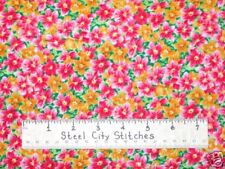 SSI Floral Impressions Pink Flowers Pretty Floral Cotton Fabric YARD