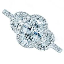 18kt G SI 2.70ct Three-Stone Oval Cut Pavé Certified Diamond Engagement Ring