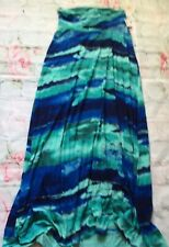 A Pea In The Pod Maxi Skirt Long Xs Nwt New Blue Green Water Color