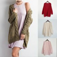 Women's Retro Open Front Chunky Warm Cardigans Cozy Sweater Long Sleeve Fashion
