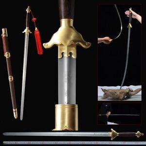 YangWu TaiChi Sword Stainless Steel Ridged Blade Brass+Baking paint Fittings#021