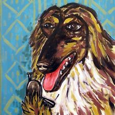 Afghan Hound print on tile - ceramic coaster - modern dog art - folk art