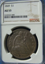 """*VERY STUNNING 1849 SEATED LIBERTY DOLLAR """"SUPER COLOR"""" AU-53 NGC*"""