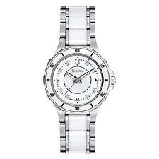 Bulova Women's 98P124 Quartz White Diamond Markers Ceramic 33mm Watch
