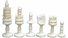 "Exclusive Collectible Camel Bone Handcarved Lotus Chess set King 4"" 32 Pieces"