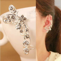 Pair Gold or Silver Plated Crystal Butterfly flowers U Shape Clip earrings