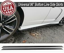 "96""x6"" Gen 1 Black Side Skirts Extension Flat Bottom Line Lip For Hyundai Kia"