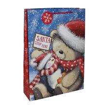Regalo Navidad Bolsa Regalo con Etiqueta - Grande 45x33x10cm Lindo Oso