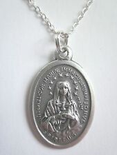 "Ladies Oversized Latin Immaculate Heart / Holy Spirit Medal Necklace 20"" Chain"