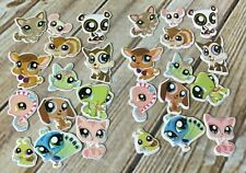 Set of 2 Littlest Pet Shop Stickers Identical Cat Mouse Peacock Dog Fish Turtle