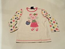 MINI BODEN Girls White Pink Kitty Cat Floral Purse Shirt Size 7-8Y