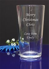 Personalised Engraved Pint Glass Merry Christmas,Happy Birthday,Your message 52