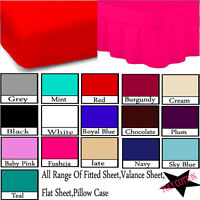 Percale Quality Fitted Sheet,Fitted Valance Sheets All Sizes ,Pillow Cases optn