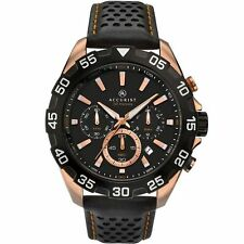 Accurist 7042.01 Men's Black Strap Chronograph Rose Gold Plated Watch New