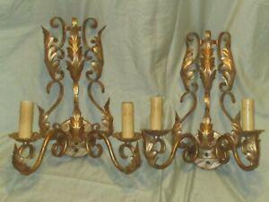 Pair Vintage Ornate Gilt Metal Two Branch Wall Light Fixtures Acanthus Leaf Desi