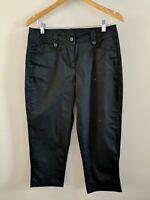 Debenhams Summer Cropped Black Trousers 12 <KK1122